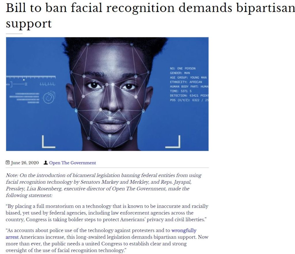 Bicameral legislation such as the Facial Recognition and Biometric Technology Moratorium Act will establish clear, strong oversight of the use of facial recognition technology.