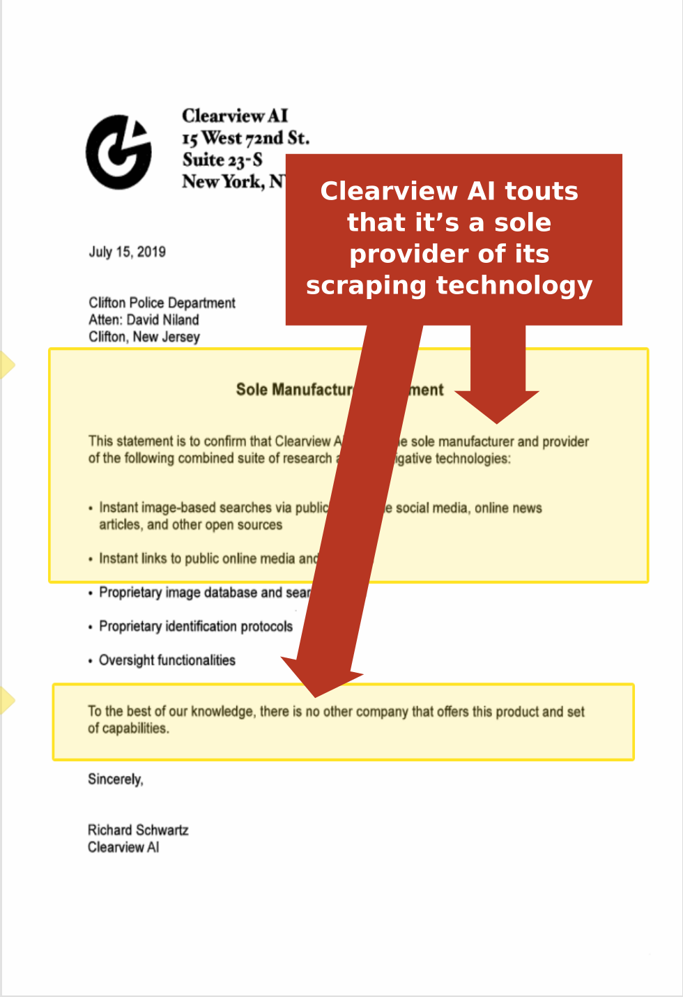 Clearview AI touts that it's a sole provider of its scraping technology. Proposed agreement Clearview AI sent to Clifton, New Jersey Police Department. (Source: Public Records Requests)